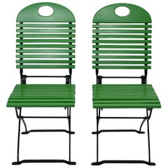 Modern Set of Ten Vintage Green Wood Metal Folding Garden Chairs, 1980s