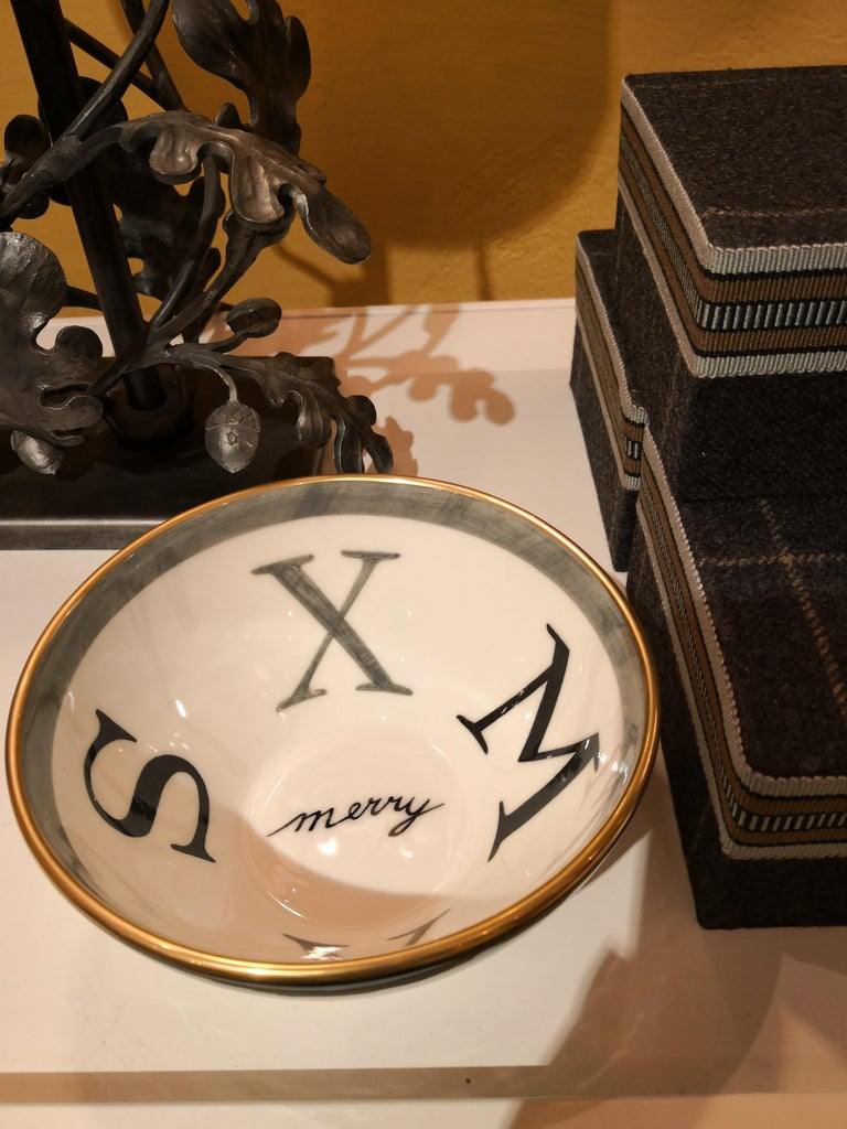 Contemporary Modern Set Two Porcelain Bowls Christmas Decor Sofina Boutique Kitzbuehel For Sale