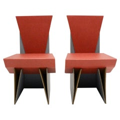 Modern Set of Two Vintage Red and Blue Cardboards Chairs, circa 1990