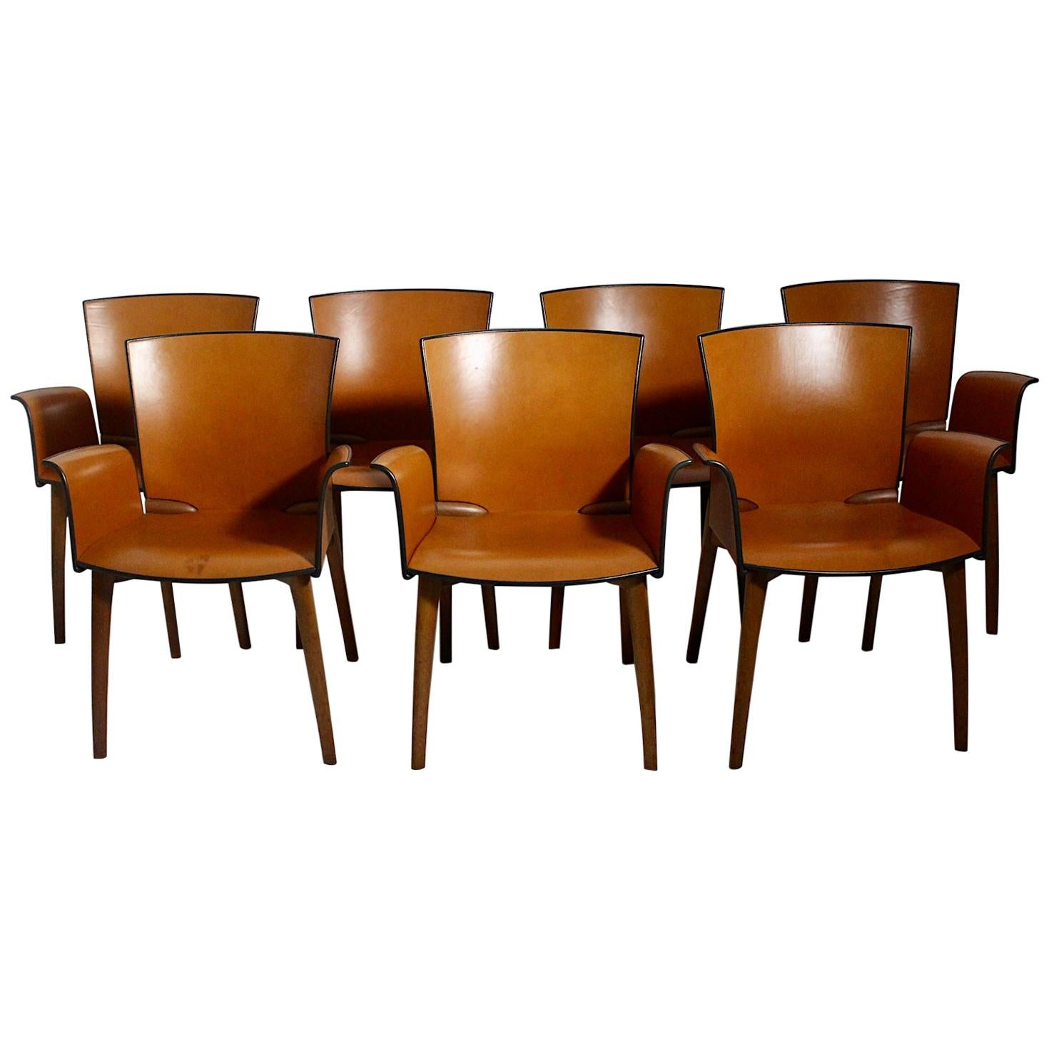 Modern Seven Vintage Cognac Leather Teak Dining Chairs Cassina, 1990s, Italy