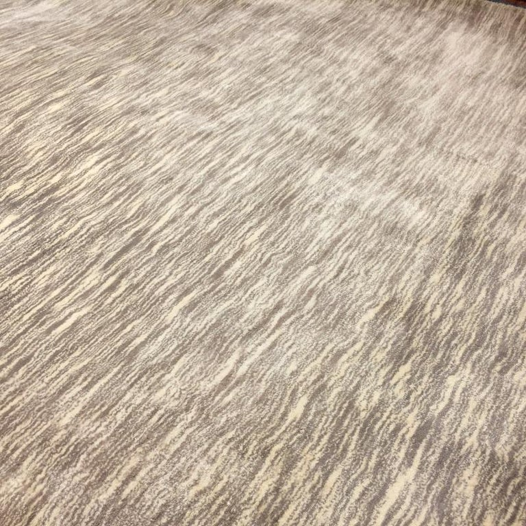 Modern Shades of Grey Tiger Design Tufted Bamboo Silk Rug For Sale 2