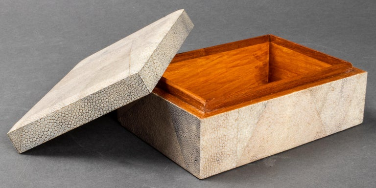 20th Century Modern Shagreen Clad Wood Dresser or Jewelry Box For Sale