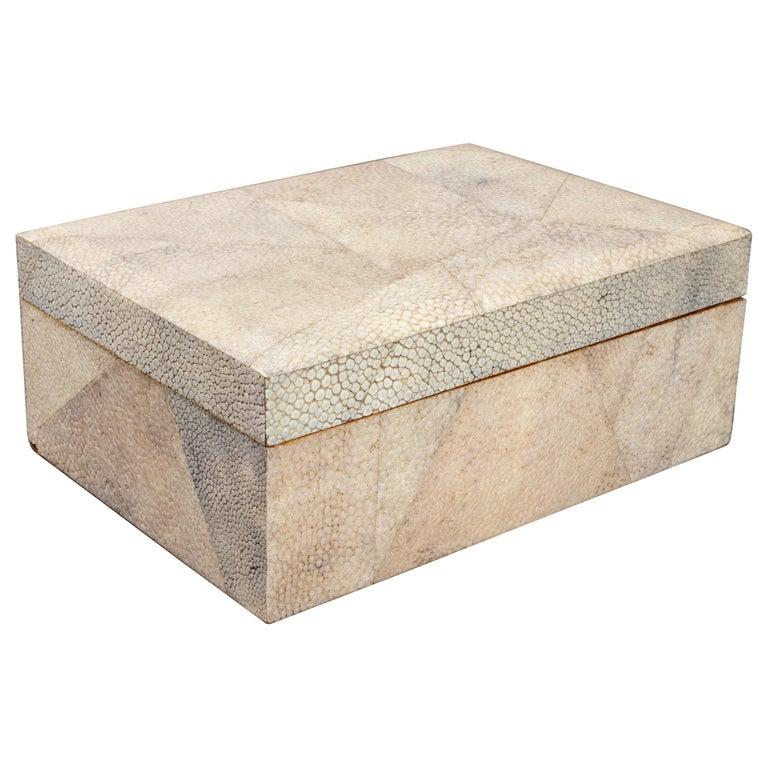 Modern Shagreen Clad Wood Dresser or Jewelry Box For Sale