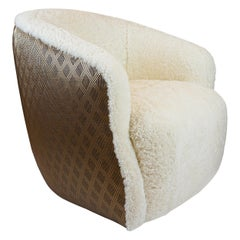 Modern Shearling Swivel Chair with Faux Metallic Vinyl Textured Contrast Back