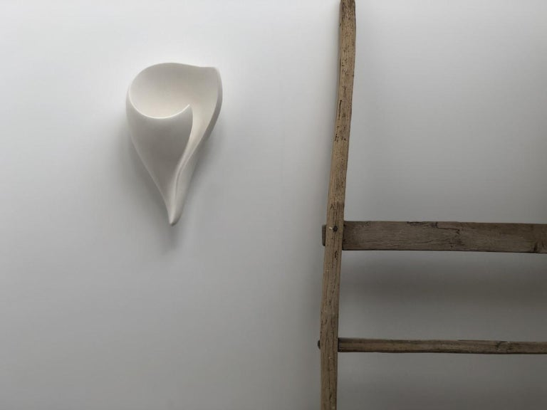 Organic Modern Shell Wall Light/Wall Sconce in White Plaster by Hannah Woodhouse For Sale 7