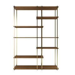 Modern Shelves in Brass Finishing and Walnut Wood
