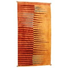 Modern Sherkaloo Rectangular Area Rug Carpet 1980s Red Brown Blue Orange