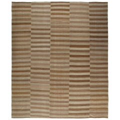 Modern Shiraz Handwoven Flatweave Rug in Brown and Beige Color