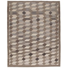 Modern Shiraz Handwoven Flatweave Cube Design Rug in Natural and Brown Colors