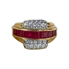 Modern Shreve, Crump and Low Ruby, Diamond Two-Toned 18 Karat Gold Ring