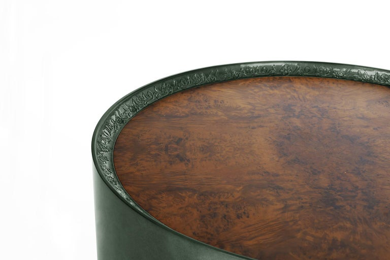 Portuguese Modern Shy Green Center Table, Carved Wood with Silver Leaf and Wood Veneer Top For Sale