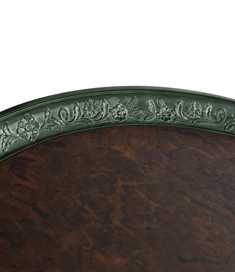 Hand-Carved Modern Shy Green Center Table, Carved Wood with Silver Leaf and Wood Veneer Top For Sale