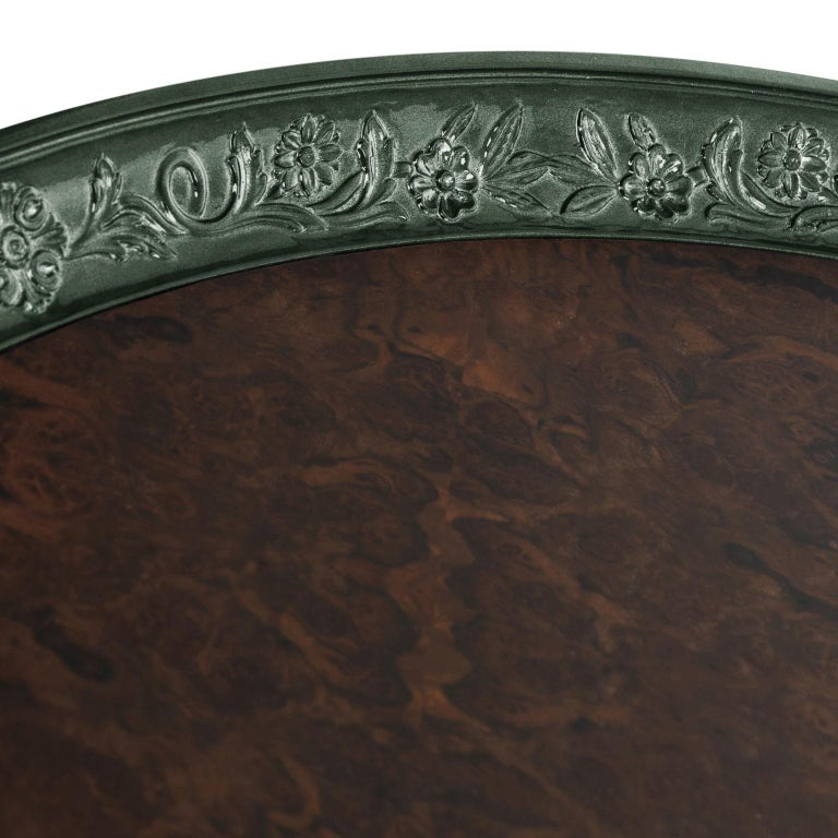 Modern Shy Green Center Table, Carved Wood with Silver Leaf and Wood Veneer Top In New Condition For Sale In Oporto, PT
