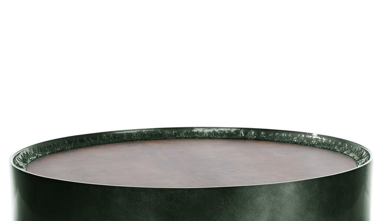 Contemporary Modern Shy Green Center Table, Carved Wood with Silver Leaf and Wood Veneer Top For Sale