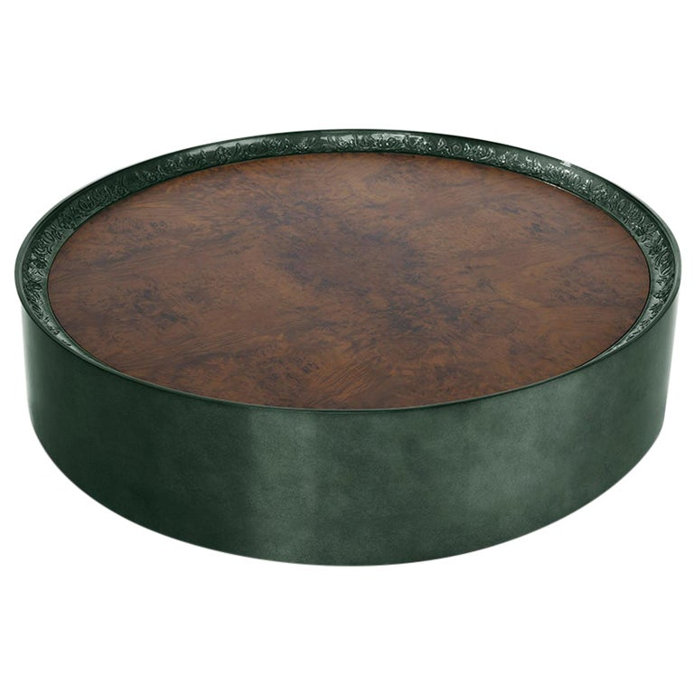 Modern Shy Green Center Table, Carved Wood with Silver Leaf and Wood Veneer Top For Sale