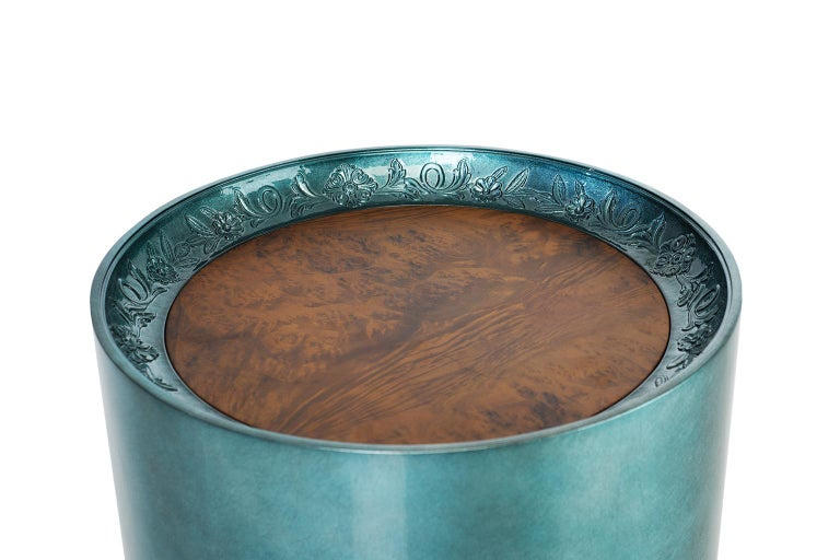 Contemporary Modern Shy Side Table in Carved Wood, Silver Leaf and Wood Veneer Table Top For Sale