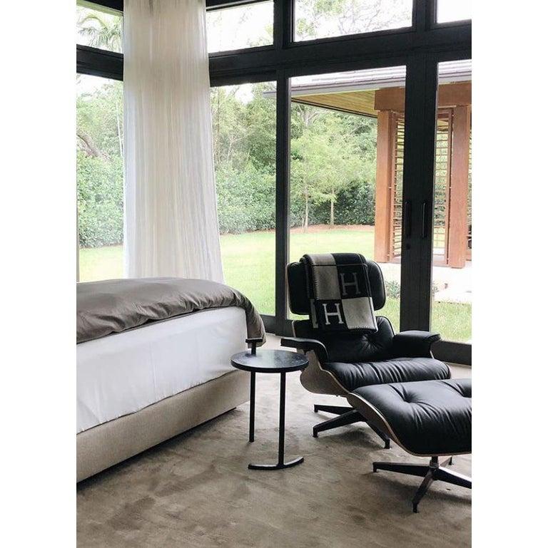 Side Table Round Modern Minimalist Geometric Cast Blackened Waxed Steel Contemp For Sale 5