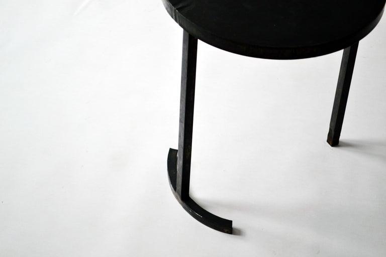 American Side Table Round Modern Minimalist Geometric Cast Blackened Waxed Steel Contemp For Sale
