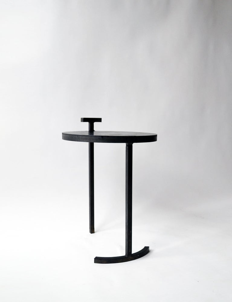Contemporary Side Table Round Modern Minimalist Geometric Cast Blackened Waxed Steel Contemp For Sale