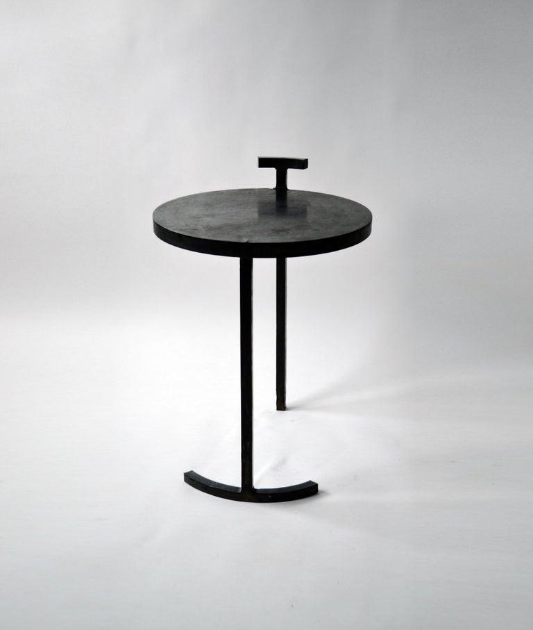 Side Table Round Modern Minimalist Geometric Cast Blackened Waxed Steel Contemp For Sale 2