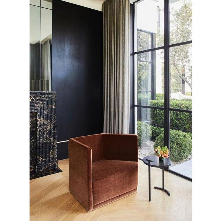 Side Table Round Modern Minimalist Geometric Cast Blackened Waxed Steel Contemp For Sale 4