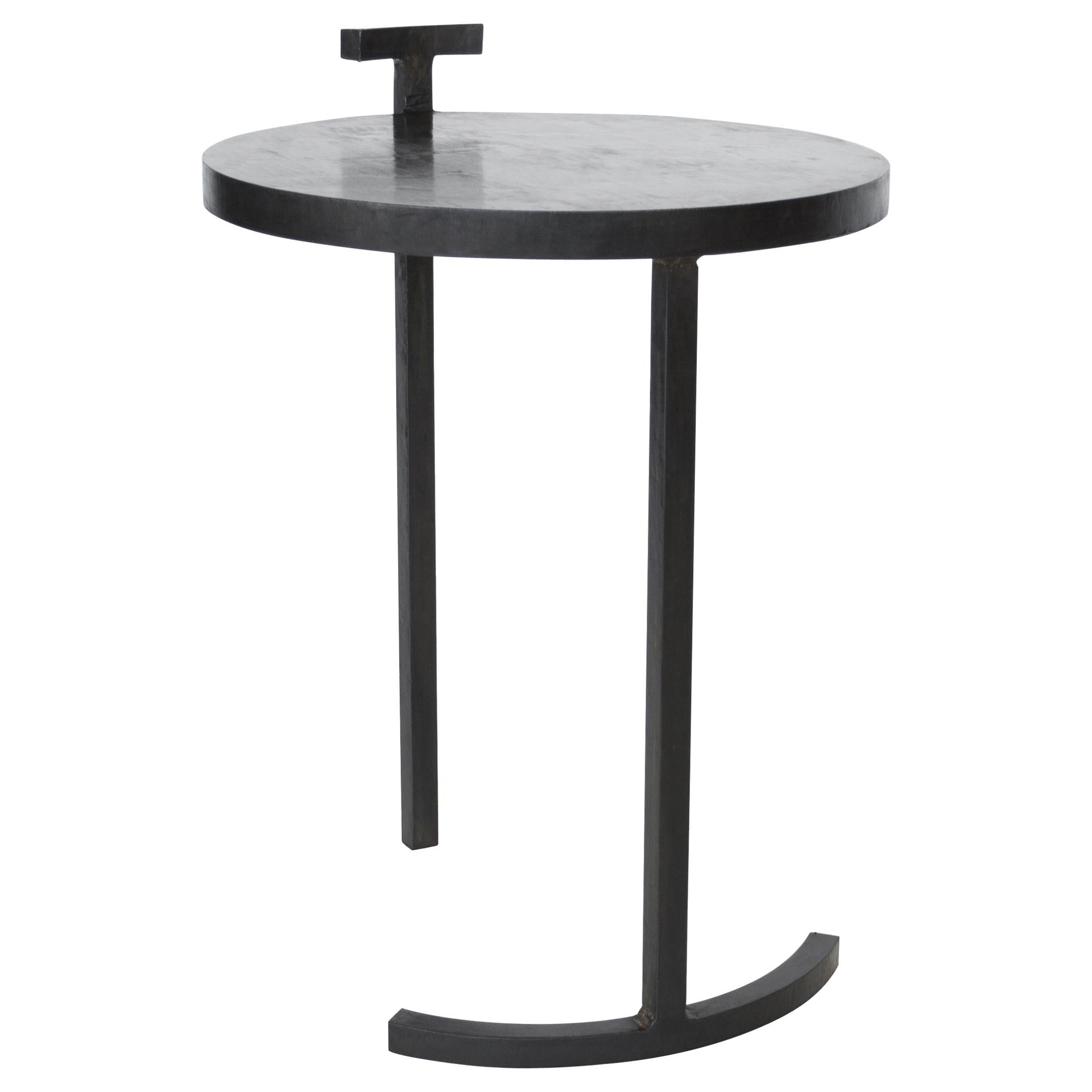 Side Table Round Modern Minimalist Geometric Cast Blackened Waxed Steel Contemp