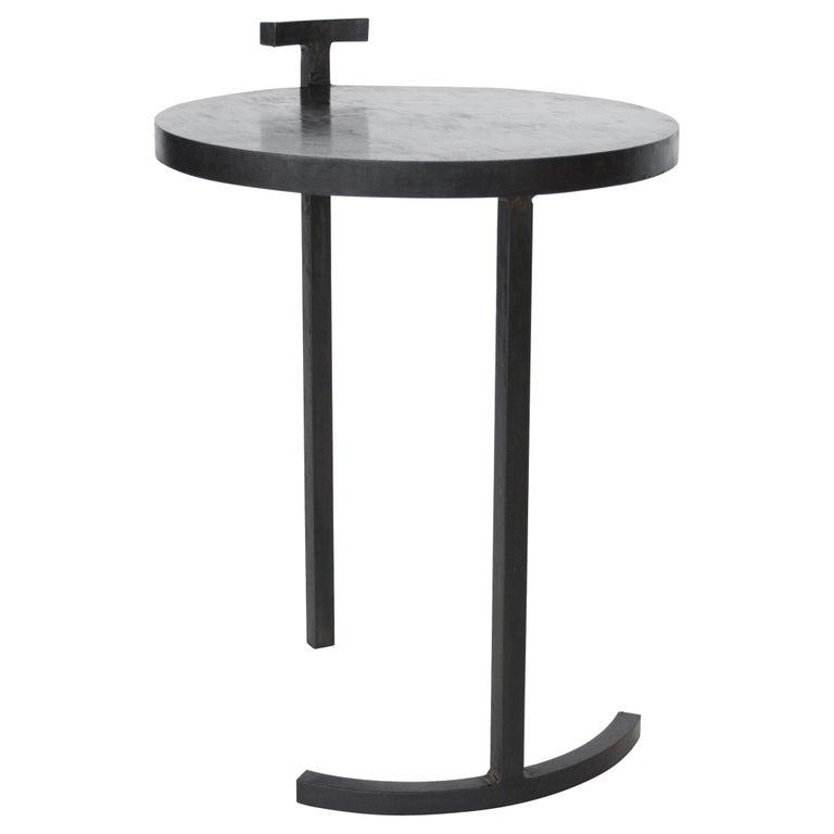Side Table Round Modern Minimalist Geometric Cast Blackened Waxed Steel Contemp For Sale