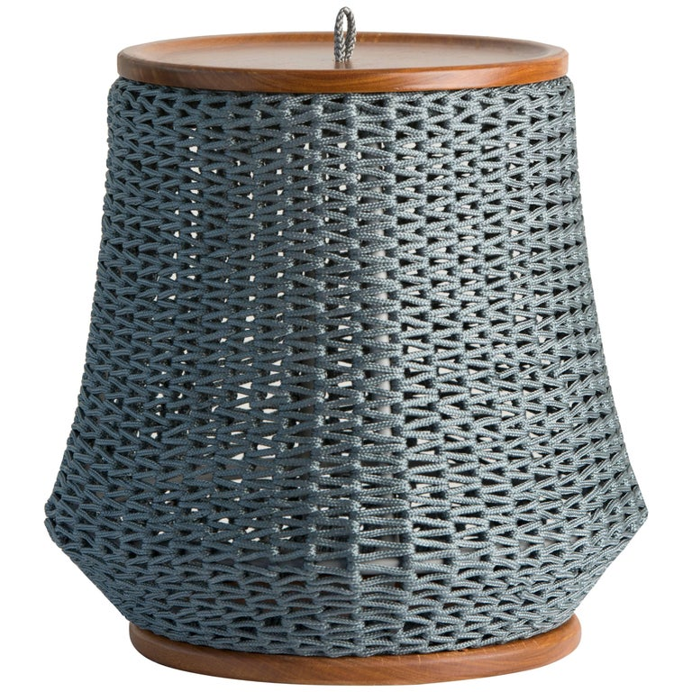 Modern Side Table, Stool and Container in solid wood and Rope For Sale