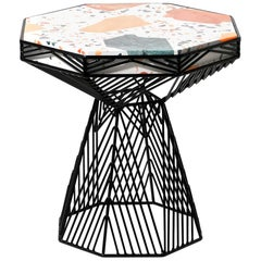Modern Side Table, Terrazzo Wire Table in Black, Switch Table