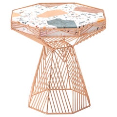 Modern Side Table, Terrazzo Wire Table in Copper, Switch Table