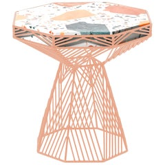 Modern Side Table, Terrazzo Wire Table in Peachy Pink, Switch Table