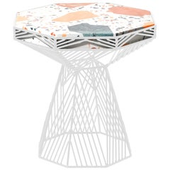 Modern Side Table, Terrazzo Wire Table in White, Switch Table
