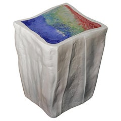 Modern Side Table White Ice Scagliola Art Sculpture Handmade by Cupioli