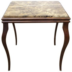 Modern Side Table with Cabriole Legs & Marble Top