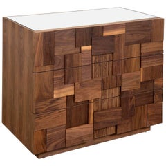 Modern Side Table with Hand-Cut Blocks Raised Geometric Pattern Three Drawers