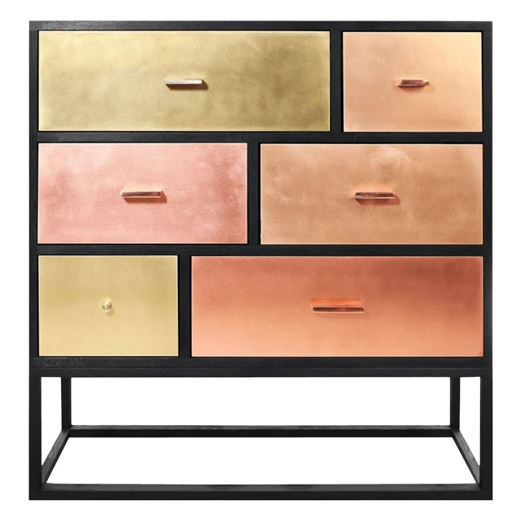 Modern Sideboard with Marble Top and Metal Drawers