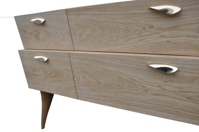 Italian Modern Sideboard 'Xuni' Brass Top Handcrafted with European or Exotic Woods For Sale