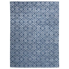 Modern Silk and Wool Rug, Geometric Design in Gray over Blue Background