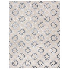 Modern Silk and Wool Rug with Geometric Design over Gray Colors