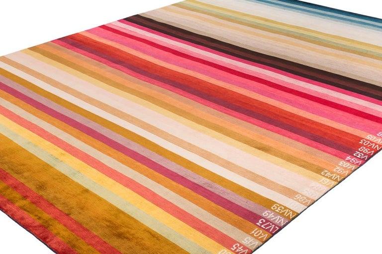 Organic Modern A Contemporary Silk Area Rug Multi Colors By CARINI 9x12 For Sale