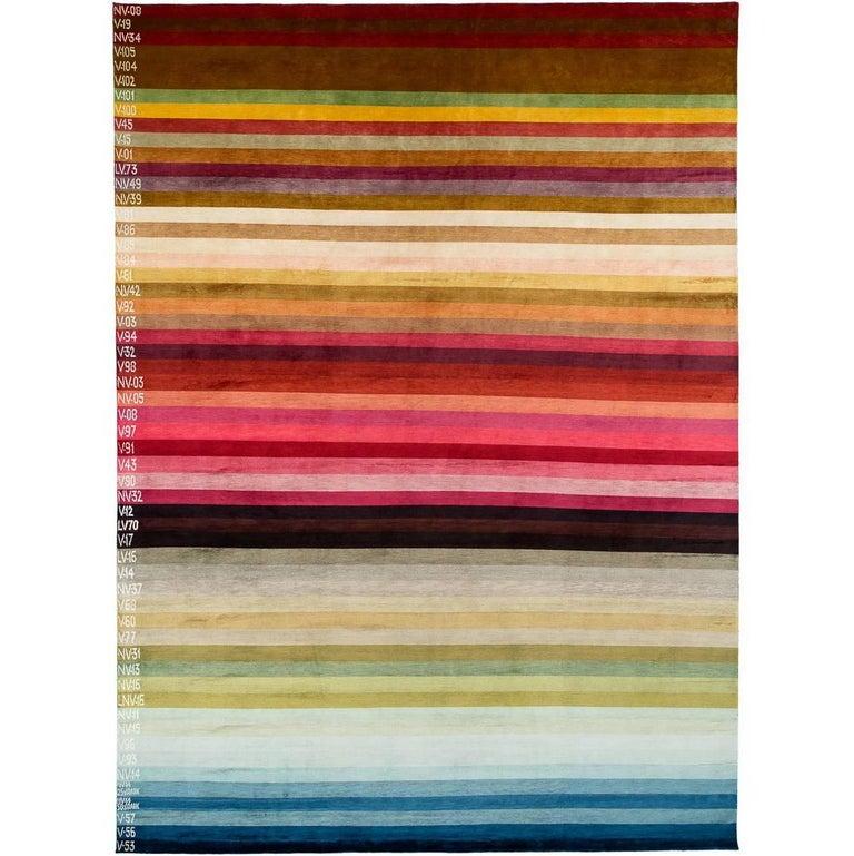 A Contemporary Silk Area Rug Multi Colors By CARINI 9x12 For Sale