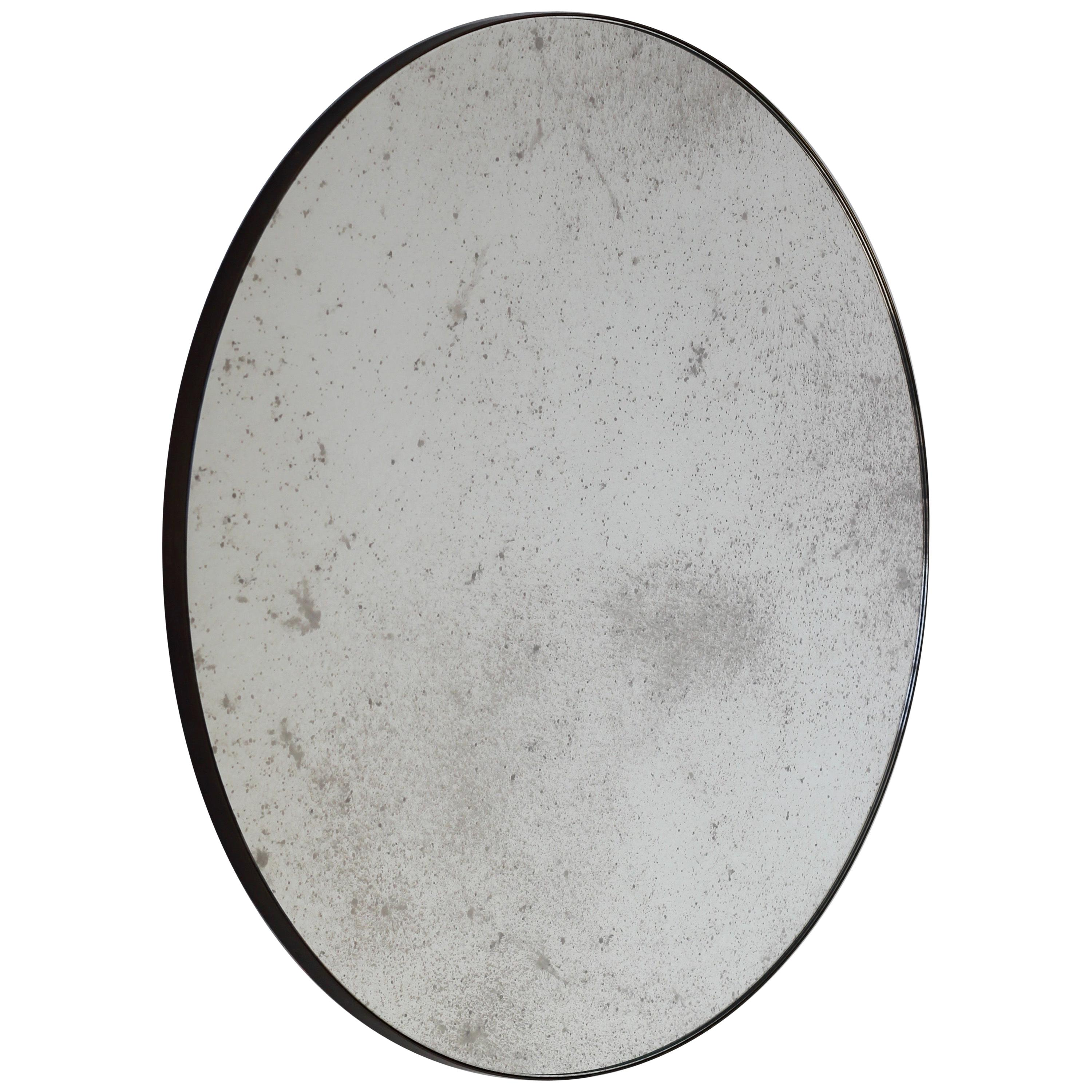 Orbis™ Round Antiqued Custom Mirror with Brass Patinated Frame - Small