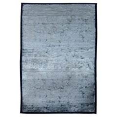 Modern Silver Blue Hand Knotted Silk Rug