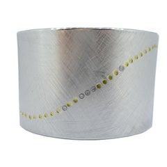 Modern Silver Gold and Diamond Cuff Bangle, circa 1990s
