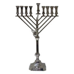 Modern Silver Israeli Menorah Hazorfim