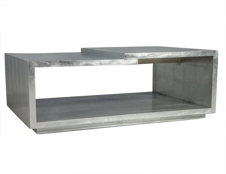American Modern Silver Leafed Cocktail Table