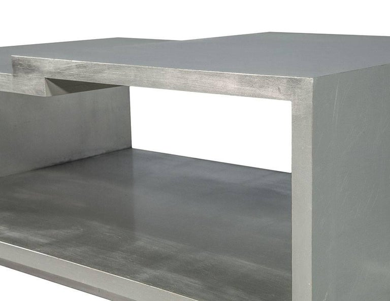 Modern Silver Leafed Cocktail Table In Good Condition In North York, ON