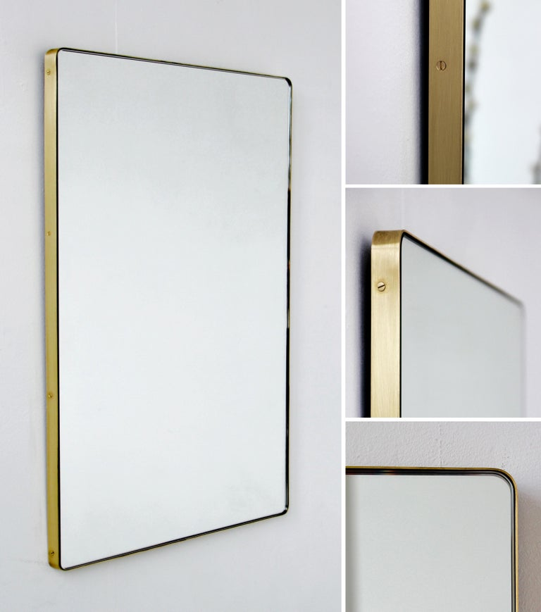 Modern Silver Quadris Rectangular Wall Mirror with Brass Frame For Sale 4