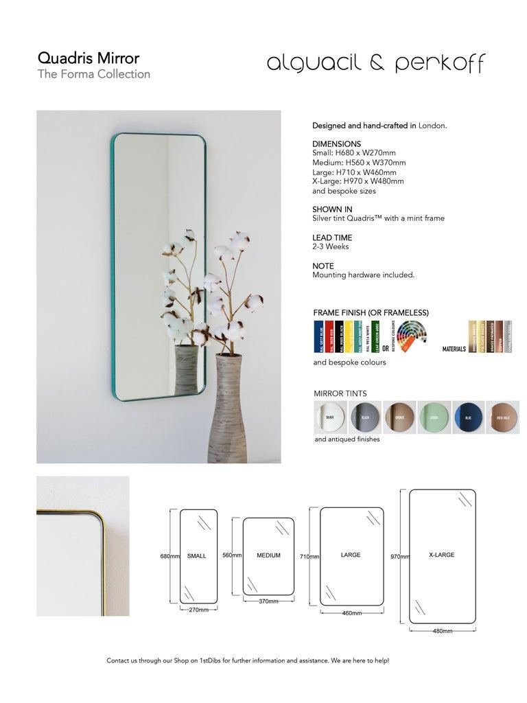 Quadris™ Rectangular Modern Mirror with Brass Frame 5