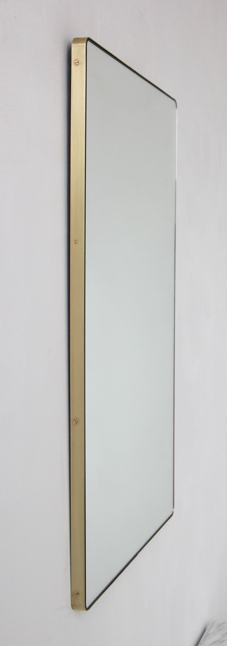 Organic Modern Modern Silver Quadris Rectangular Wall Mirror with Brass Frame For Sale